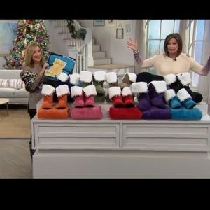 HSN Soft&Cozy Company Sherpa Calf Slippers